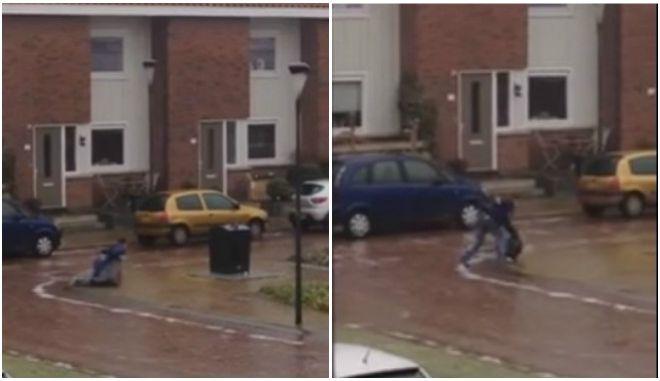 Βίντεο: Ο αγώνας ενός άνδρα να πετάξει τα σκουπίδια περπατώντας πάνω στον πάγο