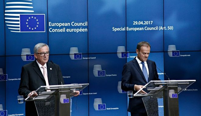 Special European Council (Art. 50) at the European Council in Brussels, Belgium on Apr. 29, 2017. The special European Council (Article 50), in an EU27 format,adop t the guidelines for the Brexit negotiations. /   27     Brexit    29 , 2017
