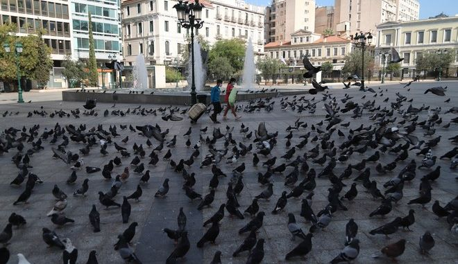 Στιγμιότυπα από το κέντρο της Αθήνας, κατά το 2ο lockdown