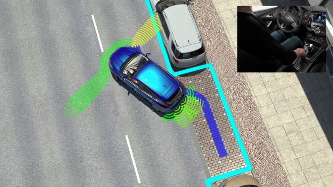 Enhanced Active Park Assist controls steering, gear selection and forward and reverse motion to facilitate parking at a push of a button. The system can automatically enter and exit a parallel parking space, and can reverse the vehicle into a perpendicular space.