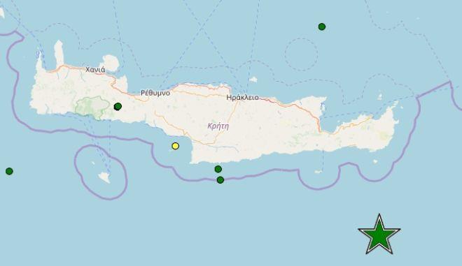 Σεισμός 5 Ρίχτερ νότια της Κρήτης