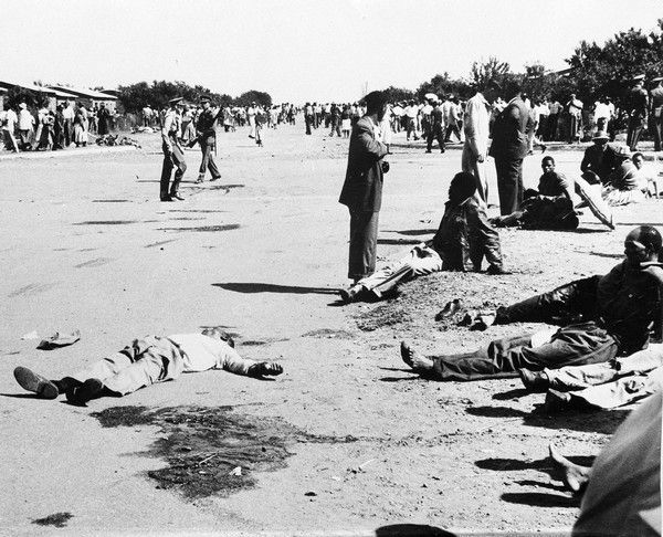 The dead and wounded lie on the ground at Sharpeville, South Africa, after police fired on demonstrators protesting against the government's white supremacy policy, March 21, 1960. (AP Photo)