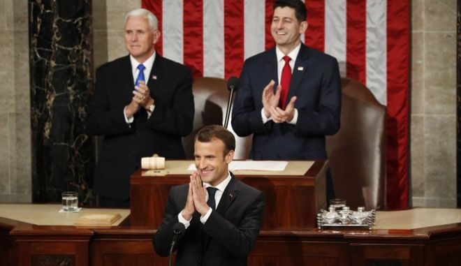 Ο Εμανουέλ Μακρόν απευθύνεται στα μέλη του αμερικανικού Κογκρέσου