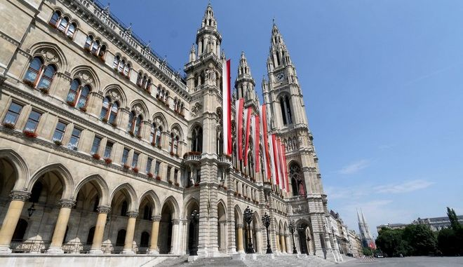 The the city hall is pictured in downtown Vienna, Austria, Friday, May 29, 2015. (AP Photo/Ronald Zak)