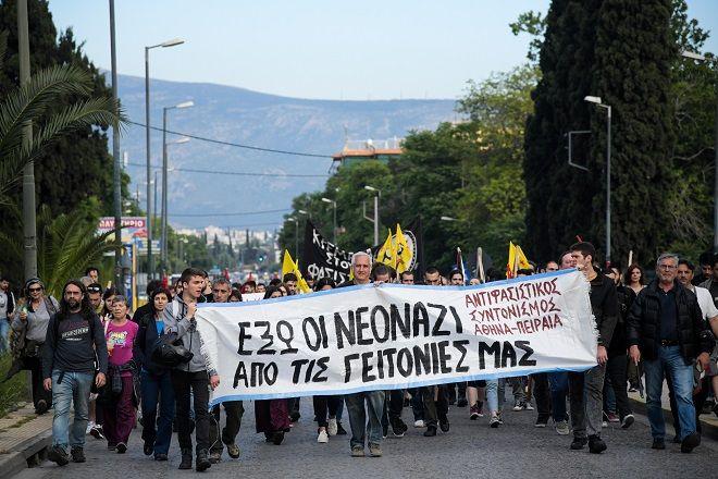 Αντιφασιστική συγκέντρωση και πορεία προς την πλατεία Αγίου Γεωργίου στον Κολωνό, ενάντια στην προγραμματισμένη ομιλία του Ηλία Κασιδιάρη, Παρασκευή 17 Μάη 2019.