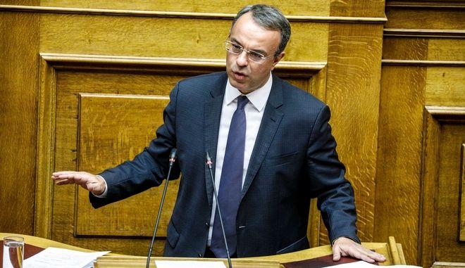 Ο Χρήστος Σταϊκούρας στο βήμα της Βουλής