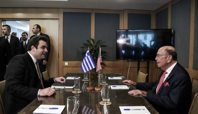 Συνάντηση του υπουργού Ψηφιακής Διακυβέρνησης Κυριάκου Πιερρακάκη με τον υπουργό Εμπορίου των ΗΠΑ Γουίλμπουρ Ρος την Πέμπτη 5 Σεπτεμβρίου 2019.