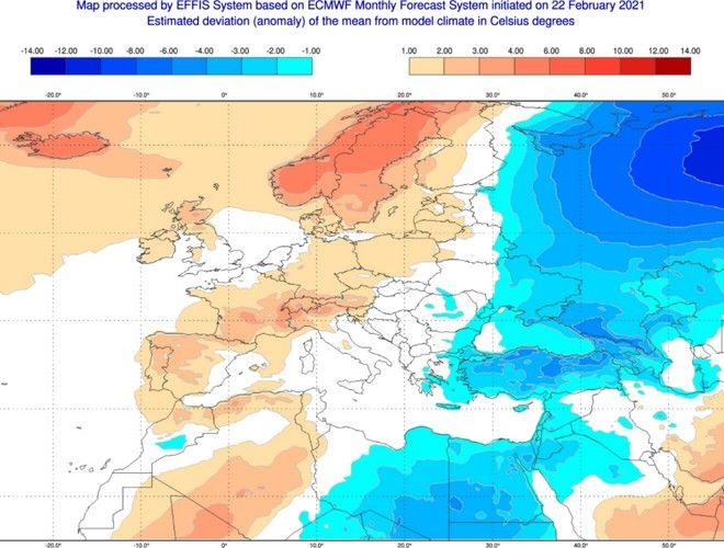 Θερμοκρασία: Με θετικό πρόσημο φεύγει ο Φεβρουάριος - Πώς θα είναι στο ξεκίνημα ο Μάρτης