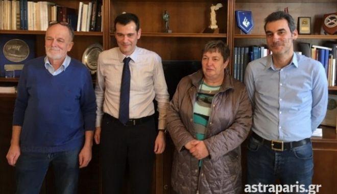 Ο δήμαρχος Χίου κ. Μανώλης Βουρνούς, ο δημοτικός σύμβουλος κ. Δημήτρης Καράλης, ο κ. Rony Vagenende και η κα Wilma Bier