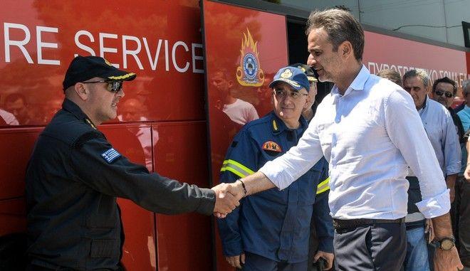 Επίσκεψη του πρωθυπουργού Κυριάκου Μητσοτάκη στις πληγείσες από την πυρκαγιά περιοχές της Εύβοιας την Τετάρτη 14 Αυγούστου 2019.