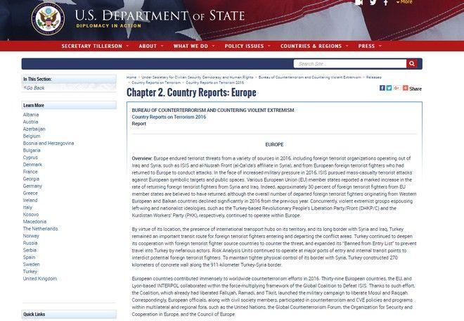 Θετικά λόγια για την Ελλάδα στην ετήσια έκθεση του State Department για την τρομοκρατία διεθνώς