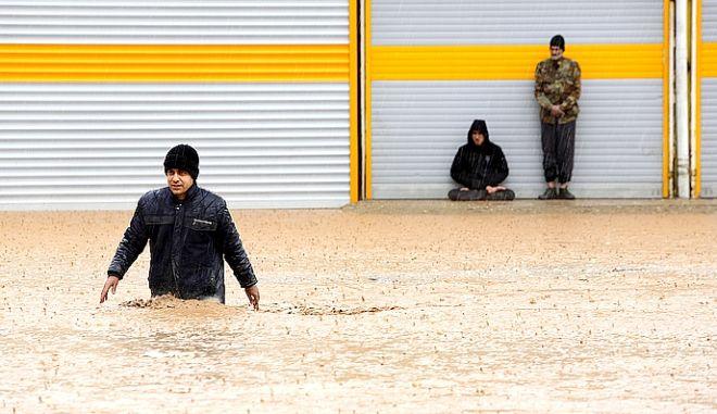 Χαρακτηριστικό στιγμιότυπο από τις πλημμύρες