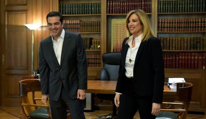 Ο Αλέξης Τσίπρας και η Φώφη Γεννηματά σε συνάντησή τους τον Ιούνιο του 2017