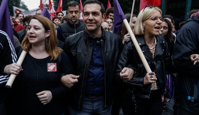 Ο Αλέξης Τσίπρας στην πορεία για την 46η επέτειο από την εξέγερση του Πολυτεχνείου