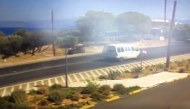 Κρήτη: Γουρούνα πέφτει πάνω σε στύλο. Το βίντεο του τρομακτικού τροχαίου