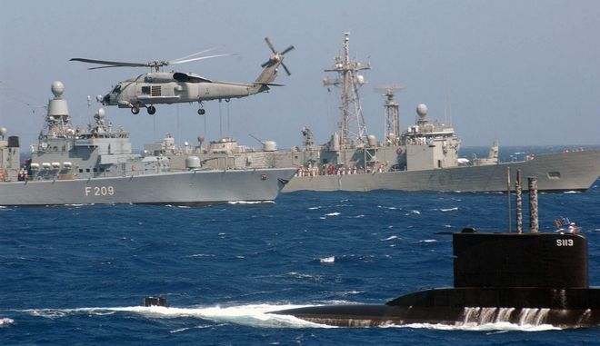 Actionshot of the ships participating in the SNMG2 exercise taking place in the Aegean Sea north Of Crete.