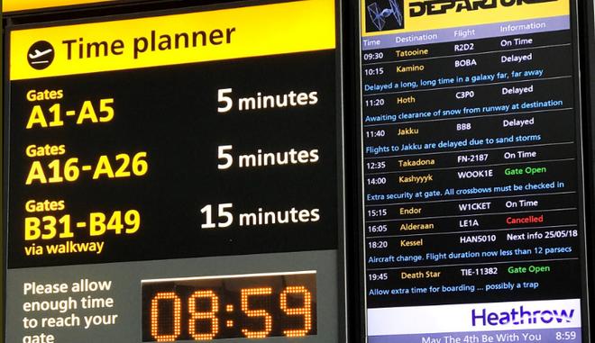 Πτήσεις προς Άλντερααν και Τατούιν από το Heathrow για την ημέρα Star Wars