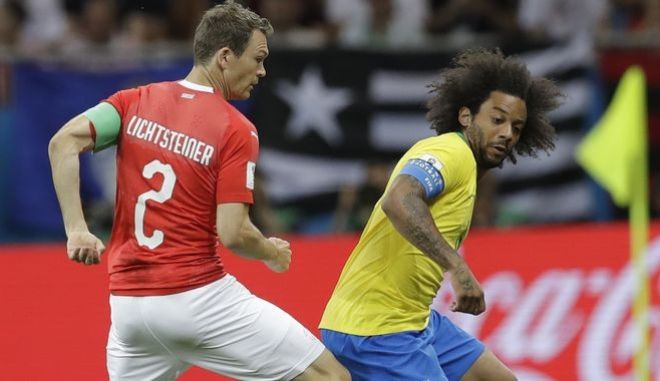 Στιγμιότυπο από τον αγώνα μεταξύ Βραζιλίας και Ελβετίας