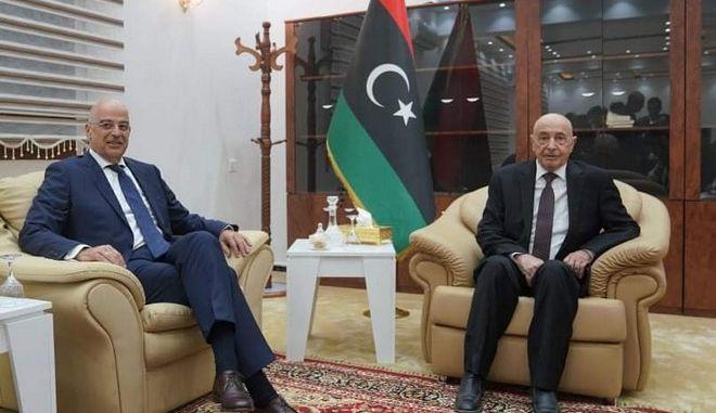 Τουρκία και θαλάσσιες ζώνες στην συνάντηση Δένδια με τον πρόεδρο της λιβυκής Βουλής