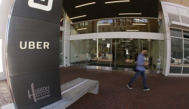 In this photo taken Wednesday, March 1, 2017, is an exterior view of the headquarters of Uber in San Francisco. (AP Photo/Eric Risberg)