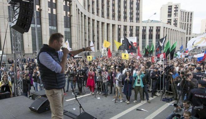Ο Αλεξέι Ναβάλνι σε παλαιότερη διαδήλωση