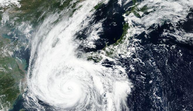 O τυφώνας Χάισεν όπως φαίνεται από δορυφόρο.