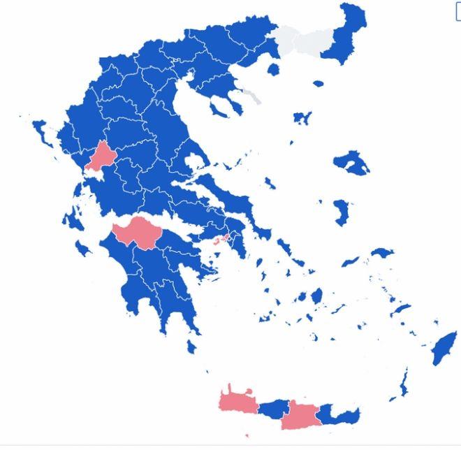 Αποτελέσματα εκλογών 2019: Ο χάρτης της Ελλάδας στο 99% της ενσωμάτωσης