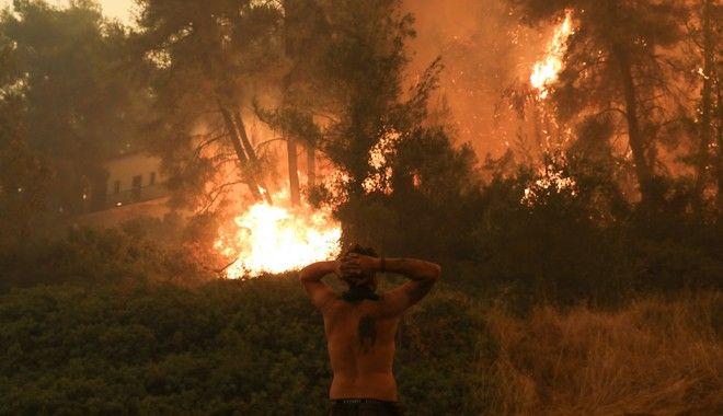 Μάχη κατοίκων και πυροσβεστών με τις φλόγες στο Πευκί Ευβοίας