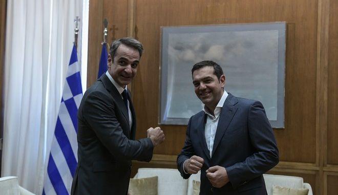 Συνάντηση του Πρωθυπουργού Κυριάκου Μητσοτάκη με τον πρόεδρο του ΣΥΡΙΖΑ Αλέξη Τσίπρα προκειμένου να τον ενημερώσει για τα αποτελέσματα της συνόδου του Ευρωπαϊκού Συμβουλίου και για τις εξελίξεις στα εθνικά θέματα