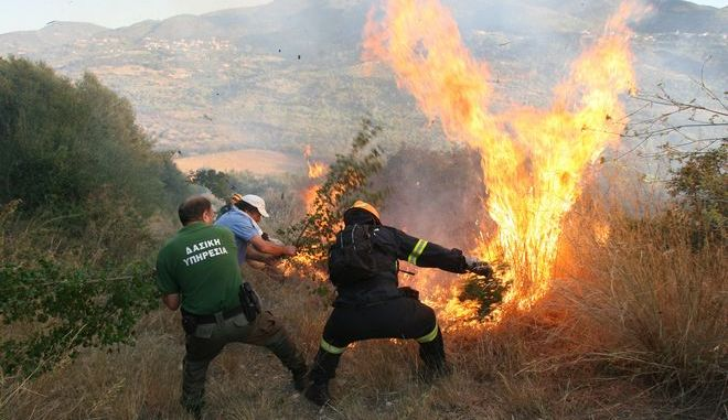 Υπάλληλος της Δασικής Υπηρεσίας, Πυροσβέστης και πολίτες στη μάχη της κατάσβεσης φωτιάς στην Μάκιστο Ηλείας το 2017.