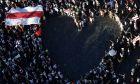 Διαδήλωση συμπαράστασης στους Λευκορώσους, στην Πράγα