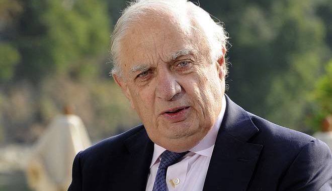 FILE - In this Friday, Sept. 7, 2012 file photo, Goldman Sachs International chairman Peter Sutherland attends a meeting on the world economy in Cernobbio, Italy. The Irish businessman and diplomat who held senior roles in the European Union, the World Trade Organization and the U.N., has died. He was 71. Sutherland's family says he died Sunday, Jan. 7, 2018 at a Dublin hospital after a long illness. (AP Photo/Giuseppe Aresu, File)