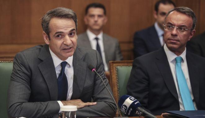 Ο Κυριάκος Μητσοτάκης με τον υπουργό Οικονομικών Χρήστο Σταϊκούρα