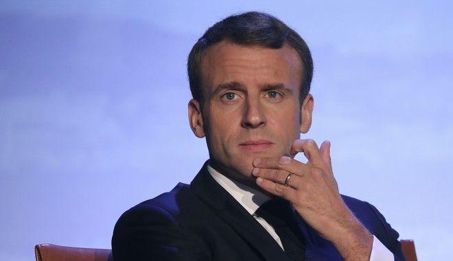 Ο Γάλλος πρόεδρος Εμανουέλ Μακρόν σε ομιλία του σε εκδήλωση της UNESCO