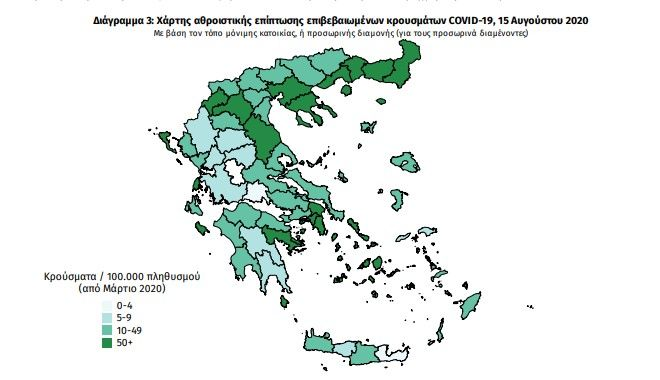 Κορονοϊός Η διασπορά των 230 κρουσμάτων - Παραμένει ψηλά η Θεσσαλονίκη