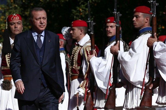 The President of the Hellenic Republic Mr Prokopis Pavlopoulos welcomes the Turkish President of Turkey, Recep Tayyip Erdogan at the Presidential Mansion in Athens, Greece on December 7, 2017. /        .          . Recep Tayyip Erdogan, , 7  2017.