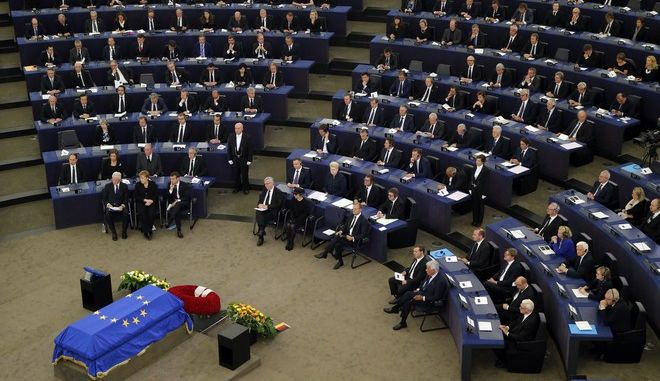 Leaders sit during an homage ceremony to former German Chancellor Helmut Kohl, at the European ceremony in Strasbourg, eastern France, Saturday July 1, 2017. Current and former leaders from Europe and beyond are gathering in Strasbourg, France to bid farewell to former German Chancellor Helmut Kohl, who died June 16 at 87. (AP Photo/Michel Euler)