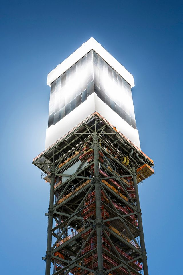 IVANPAH, CALIFORNIA, APRIL 02 2013: The top of Tower 1 is