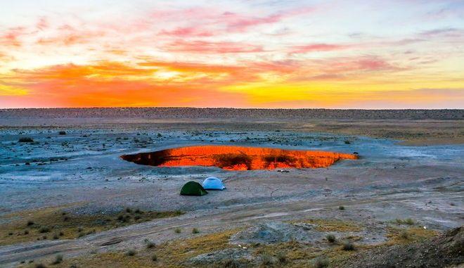 Ο κρατήρας Νταρβάζα στο Τουρκμενιστάν