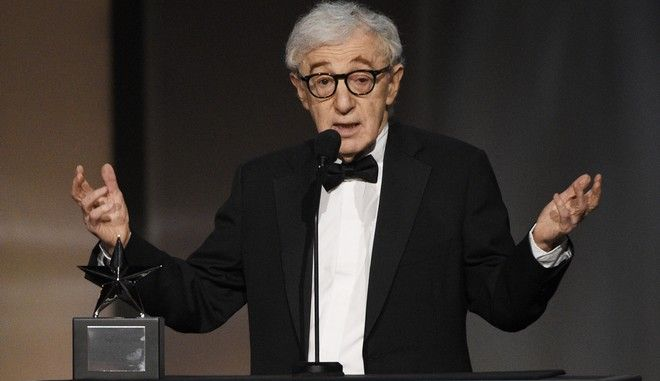Filmmaker Woody Allen addresses the audience during the 45th AFI Life Achievement Award Tribute to Diane Keaton at the Dolby Theatre on Thursday, June 8, 2017, in Los Angeles. (Photo by Chris Pizzello/Invision/AP)