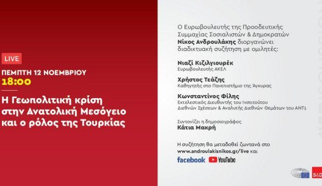 """Διαδικτυακή Εκδήλωση του Ν. Ανδρουλάκη: """"Η Γεωπολιτική κρίση στην Ανατολική Μεσόγειο και ο ρόλος της Τουρκίας"""""""