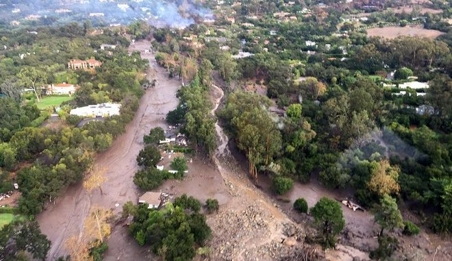 This photo provided by Ventura County Sheriff's Office shows an arial view of Montecito, Calif., with mudflow and debris due to heavy rains on Tuesday, Jan. 9, 2018. Several homes were swept away before dawn Tuesday when mud and debris roared into neighborhoods in Montecito from hillsides stripped of vegetation during a recent wildfire. (Ventura County Sheriff's Office via AP)