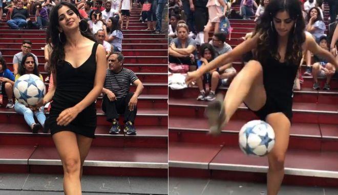 Ποιος Ρονάλντο; Η Χαριέτ Παύλου κάνει γκελάκια με τα ψηλοτάκουνά της