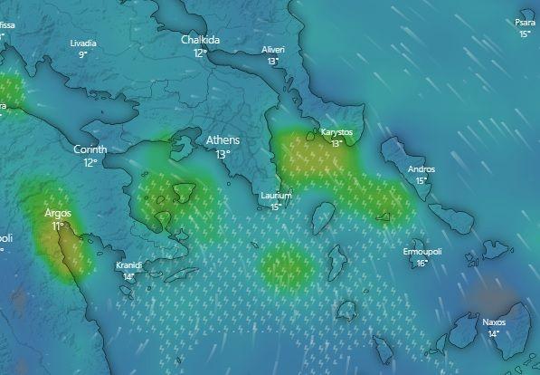 Τα έντονα καιρικά φαινόμενα όπως αποτυπώνονται από τον δορυφόρο στις 21:00 της Τρίτης