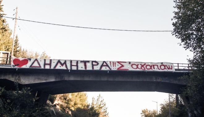 Πανό σε αερογέφυρα στην εθνική οδό Τρικάλων - Ιωαννίνων στην πόλη των Τρικάλων.