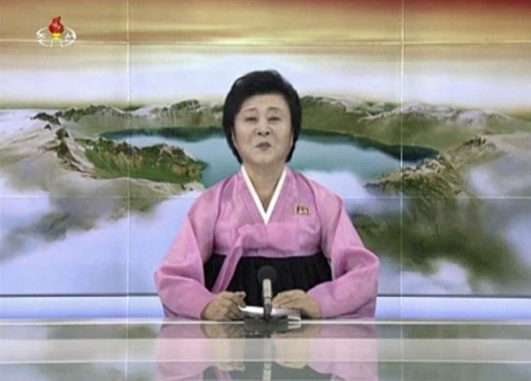 In this image made from video of a news bulletin Tuesday, July 4, 2017, North Korea's KRT television shows a presenter announcing North Korea has test-launched its first intercontinental ballistic missile. This appears to contradict South Korean and U.S. officials who said Tuesday's launch was an intermediate-range missile. (KRT via AP Video)