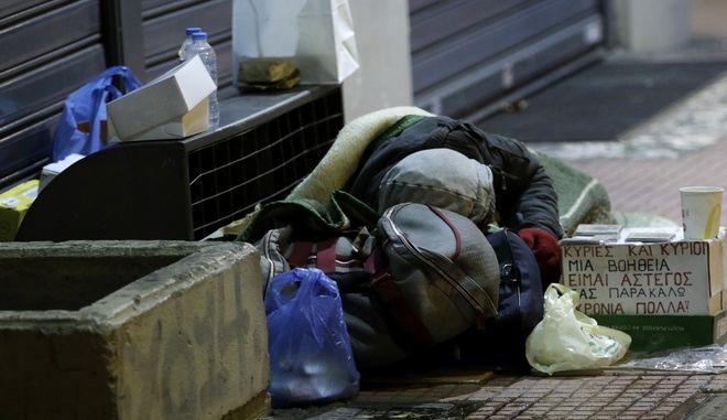 Άστεγος στην Αθήνα - Φωτογραφία αρχείου