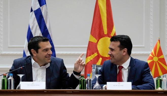 Υπογραφή διμερών συμφωνιών μεταξύ Ελλάδας και Δημοκρατίας της Βόρειας Μακεδονίας, τη Τρίτη 2 Απριλίου 2019. (EUROKINISSI/ΓΡ. ΤΥΠΟΥ ΠΡΩΘΥΠΟΥΡΓΟΥ/ANDREA BONETTI)