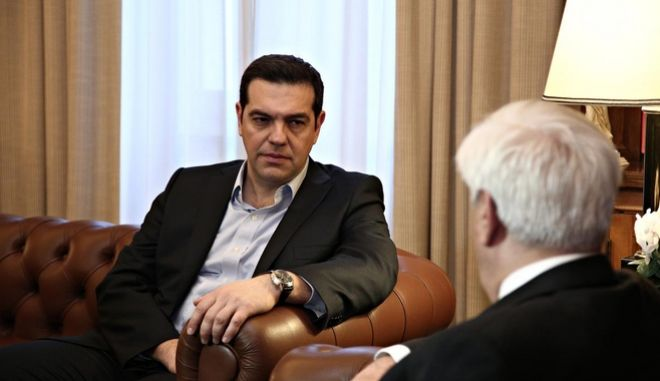 The greek Prime Minister Alexis Tsipras visits the President of Democracy Prokopis Pavlopoulos, at the Presidential Mansion, in Athens, on Feb. 20, 2016 /          ,   , , 20 , 2016
