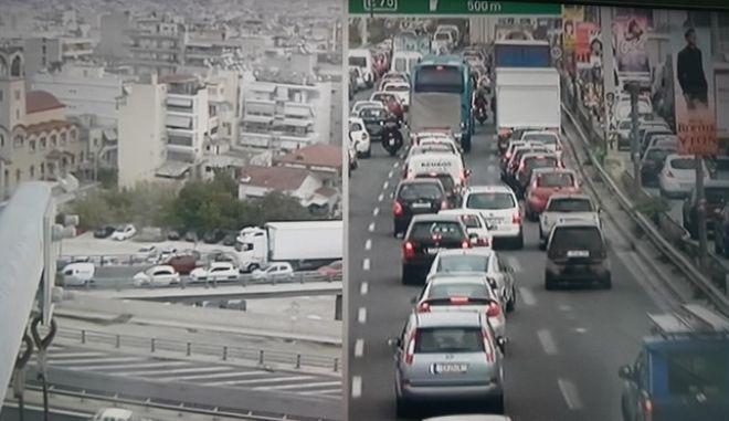 Κυκλοφοριακό χάος στην Εθνική Οδό- Έπεσε ολισθηρό υλικό στο οδόστρωμα